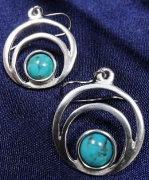 Centric Gemstone Pewter Drop Earrings